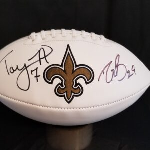 Saints Football Signed by Brees and Hill for Black Tie Auctions